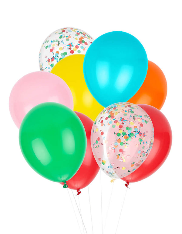 Studio Pep - Back To School Classic Balloon Mix. A perfect combination of red, pink, orange, yellow, spring green and bright turquoise, this balloon mix is great for your back to school party or first day of school celebration!  Set of 12 balloons (9 solid colored balloons + 3 pre-filled confetti balloons), six 11-inch latex balloons with pre-filled confetti.