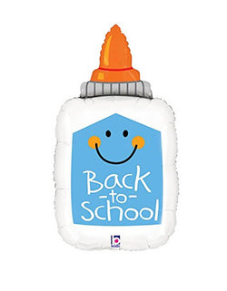 "Betallic Balloon - 33 inches Back To School Glue Bottle Foil Mylar Balloon. featuring a Elmer's School Glue shape with happy face and ""back to school"" text message on it. Add this adorable glue bottle foil balloon to your back to school party!"