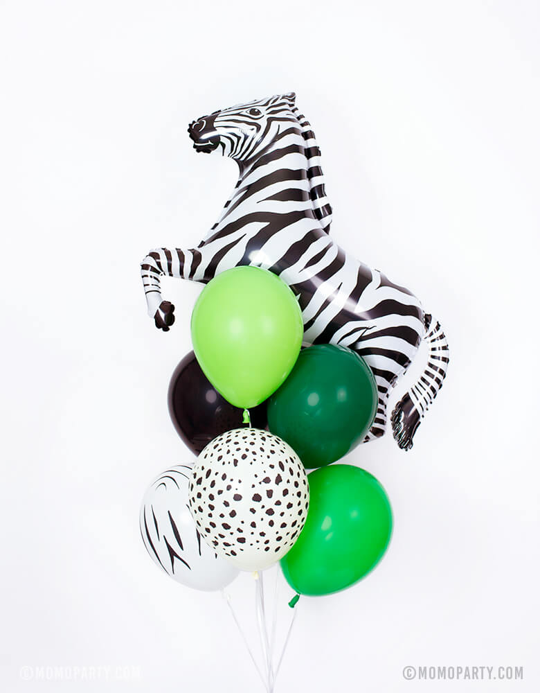 Balloon bundle with a 43inch ZEBRA Foil Mylar Balloon and 6 of 11inch Latex balloon in black, green, spring green, lime green colors, zebra print and cheetah print for a Safari, party animal themed, Get wild themed, Tiger King, Lion King themed birthday party celebration