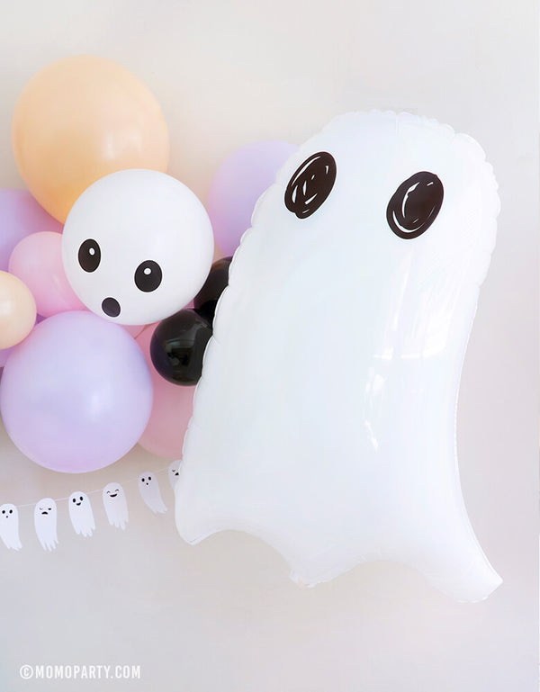 Party Deco - Halloween Ghost Foil Mylar Balloon. This clean look cute white ghost balloon is perfect for kids halloween birthday party, trick-or-treating halloween party, nightmare before Christmas party, witch themed party and all halloween related celebrations