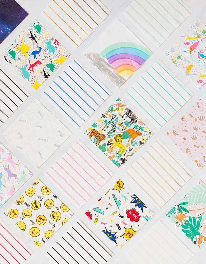 Daydream Society Frenchie Striped Napkins spread out with all festive themed napkins