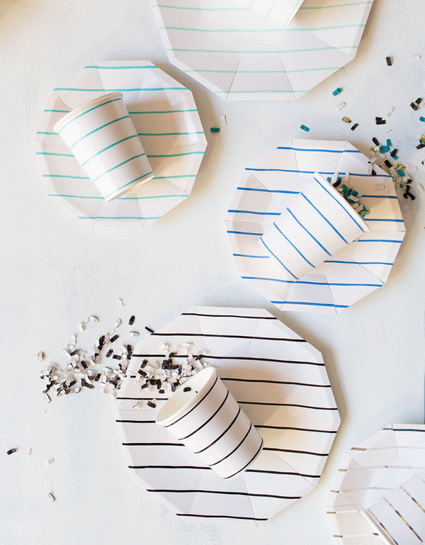 Daydream Society Frenchie Stripe Collection Party Plates and Cups