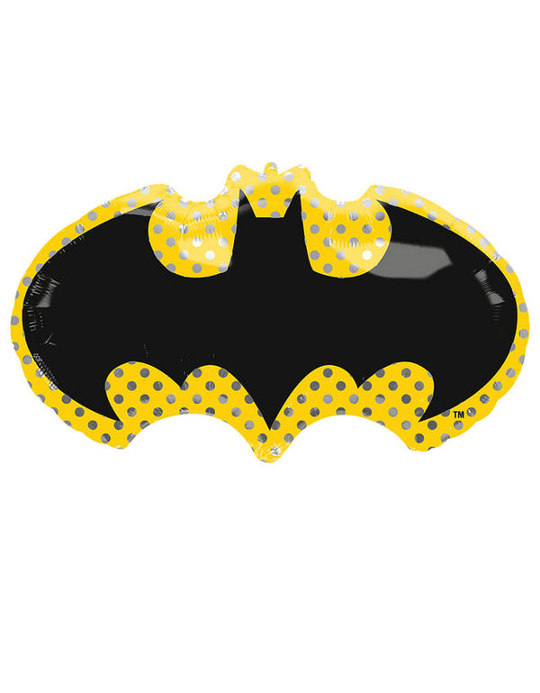 Anagram Balloons - 40715 Batman SuperShape™ P38. This Batman Emblem Foil Balloon featuring Shaped like a bat-signal, this foil balloon is outlined with shining polka prints in a yellow background. A great addition to a Batman, superhero, or Justice League themed party.