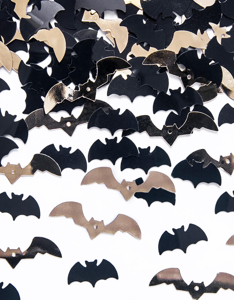 Party Deco Bats Confetti, mixed with confetti in a shape of bat in black and gold. Add some fun to your Halloween party by spreading this set of bats confetti to your halloween table