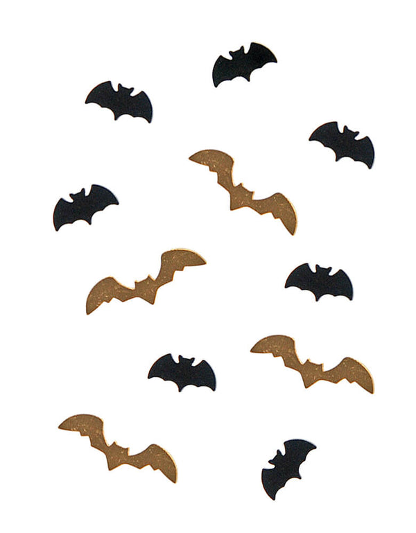 Party Deco Bats Confetti, Each set includes confetti in a shape of bat in black and gold. Add some fun to your Halloween party by spreading this set of bats confetti to your halloween table