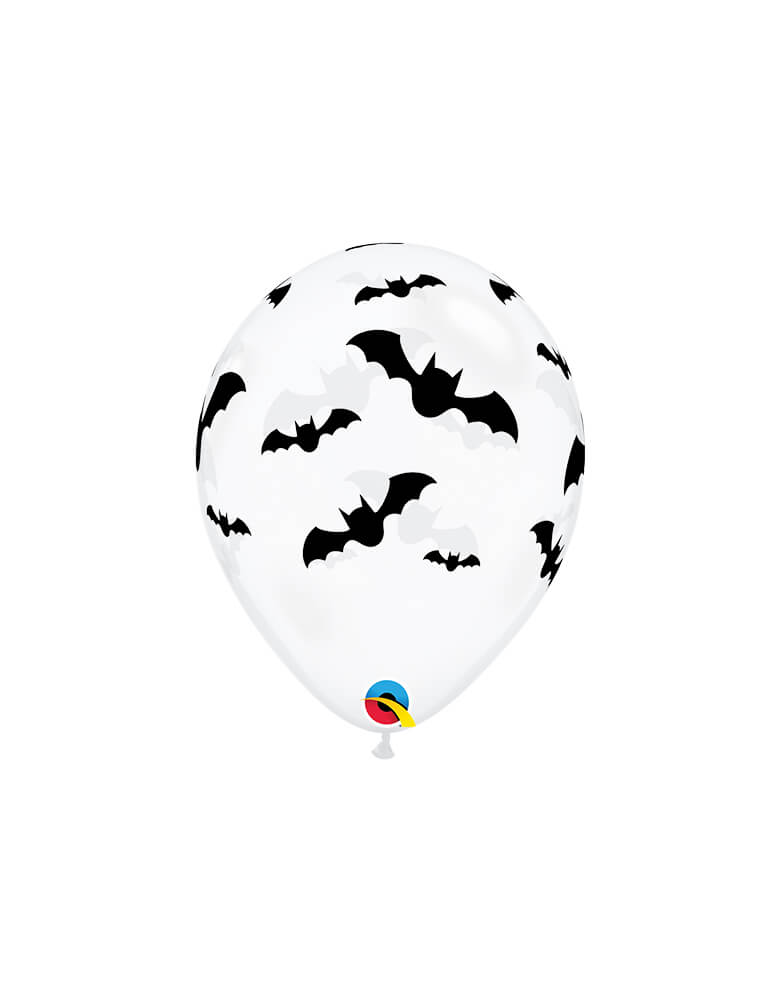 Qualatex Balloons - Bats Clear Latex Balloon, feathering black bat-printed on clear latex, Adding this latex balloon along with Halloween Balloons or bring the ballon itself to with you for trick-or-treating, or decorating for your halloween party, trick-or-treat Halloween party, Witch Party, Haunted House Birthday Party