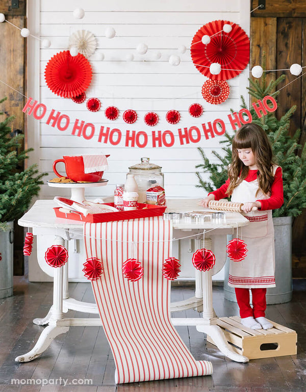 Believe Christmas Red Striped Table Runner