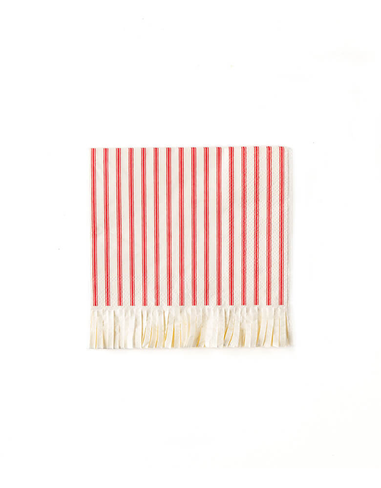 My Minds Eye BELIEVE COCKTAIL NAPKIN. Believe Red Striped Small Napkins, 5 x 5 inches, Pack of 24, Fethering red stripes pattern with Fringe accents