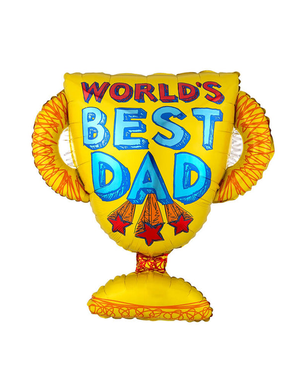 "Anagram 35"" World's Best Dad Trophy Super Shape Foil Balloon for Father's day celebreation"