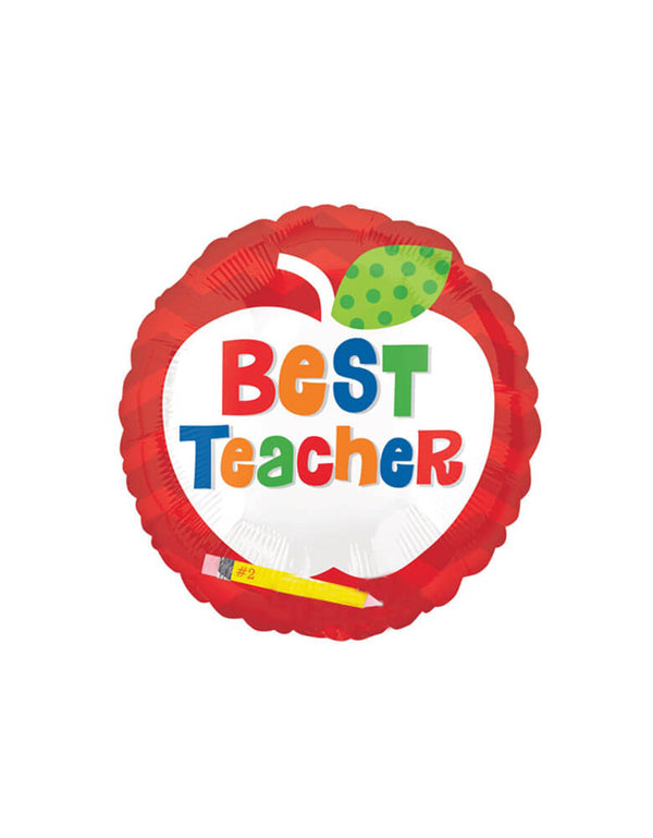 Anagram Balloons - 18inch Best Teacher Apple Foil Balloon