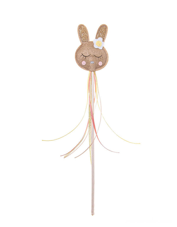 Rockahula Kids - Betty Bunny Wand. Bunny head with flower wand with and adorned with beautiful colored ribbon