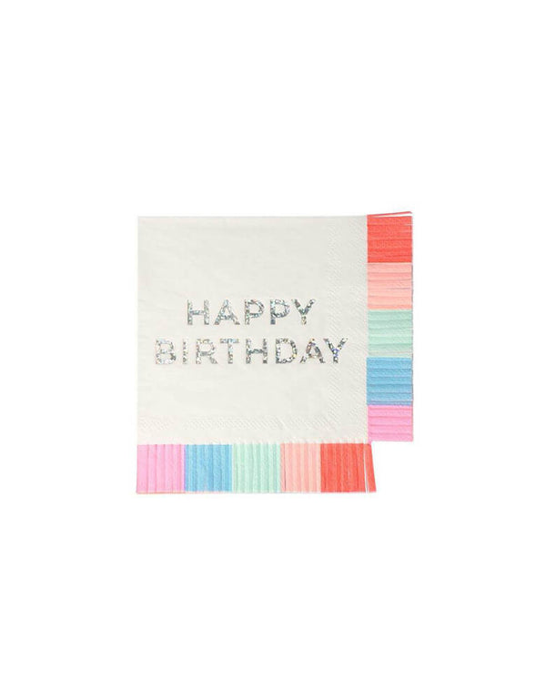 Meri Meri Birthday Fringe Small Napkins in multiple colors