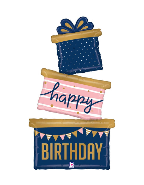 "Betallic Balloon - 51 inches Birthday Gift Foil Balloon, featuring a 3 tired special elegant birthday gifts with ""happy"" on the 2nd pink striped gift box, and ""birthday"" with birthday flags on the bottom largest navy gift box"