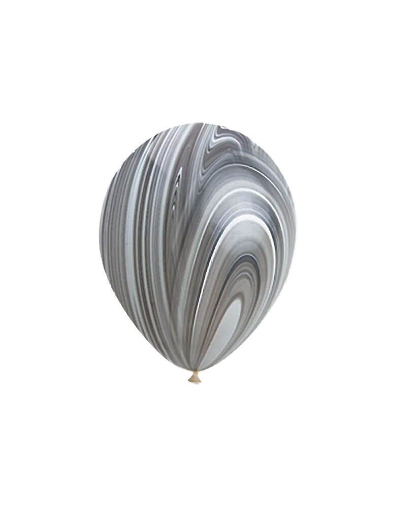 "Qualatex 11"" Latex Balloons - Black And White Marble Agate Latex Balloon for Space themed birthday party, Star Wars birthday party, Blast off birthday party, Two the Moon birthday party"