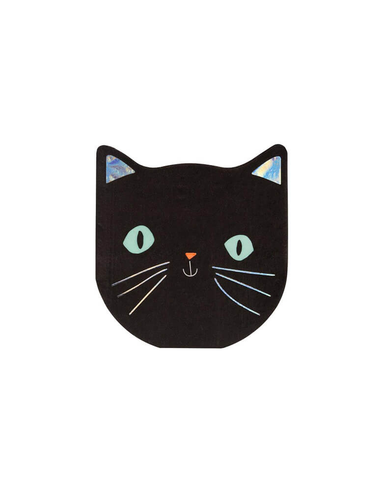 Meri Meri Black Cat Halloween Napkins for Kids Halloween Party, pack of 20