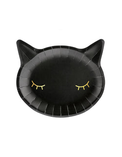 Party Deco Black Cat Halloween Plates in a cute Cat head die-cut Shape with eyes in a gold foil. These adorable black cat plates are a prefect for your Halloween table. Your little ghouls will surely love them!
