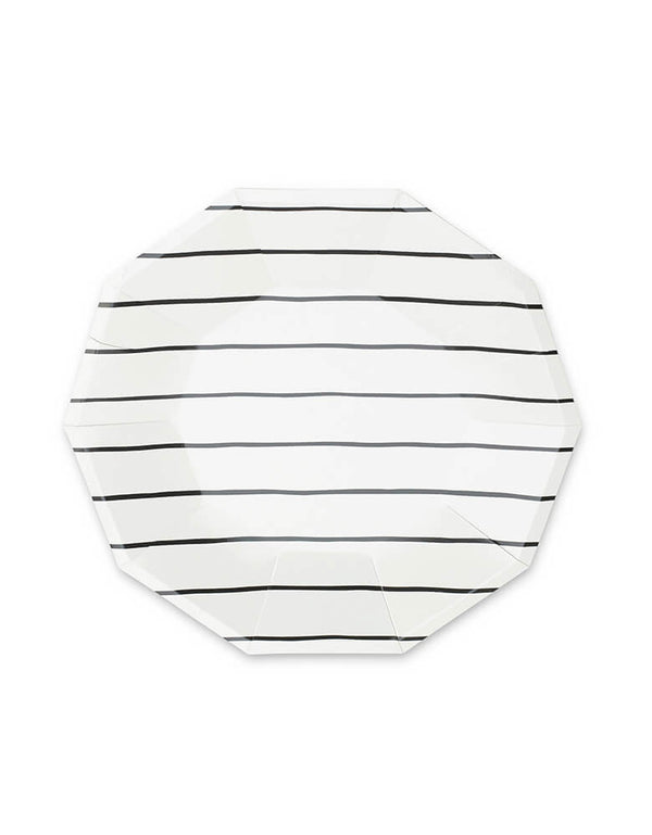 Daydream Society 9.5-inch Frenchie Ink Black Striped Large Plates