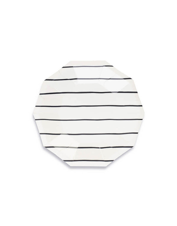 Daydream Society Frenchie Stripes Ink Black Striped Small Plates Set of 8