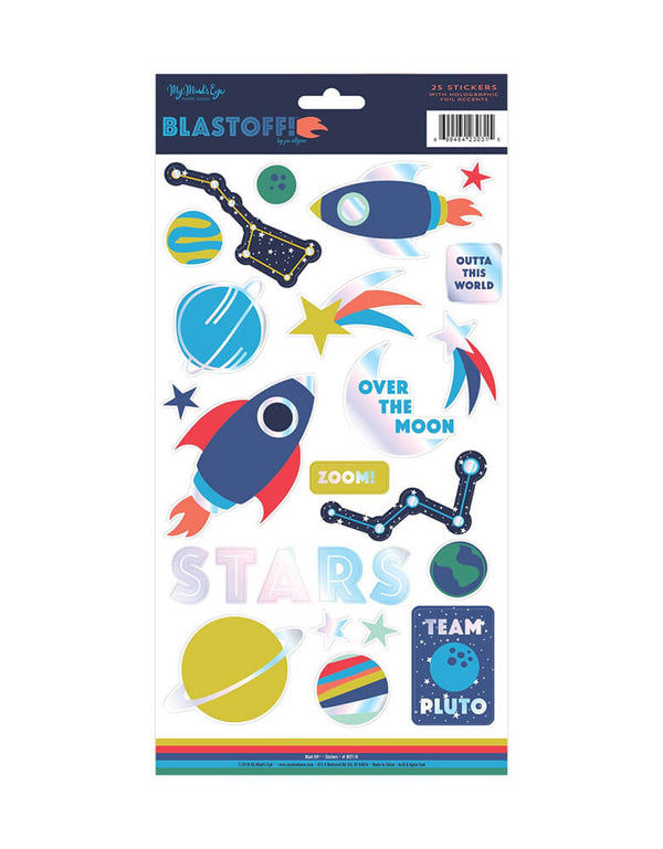 A sticker sheet with 25 spaced-themed stickers with foil accents including rockets, planets, and stars.