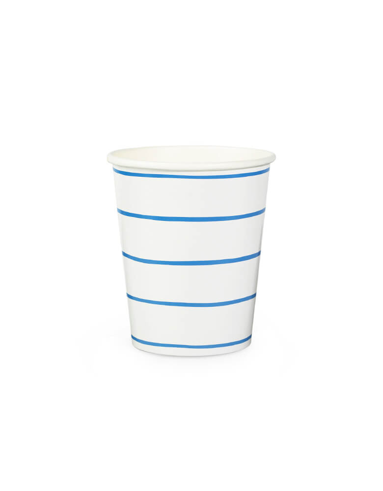 frenchie blue striped paper cups