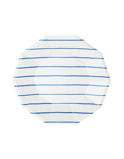Blue Striped Large Paper Plates