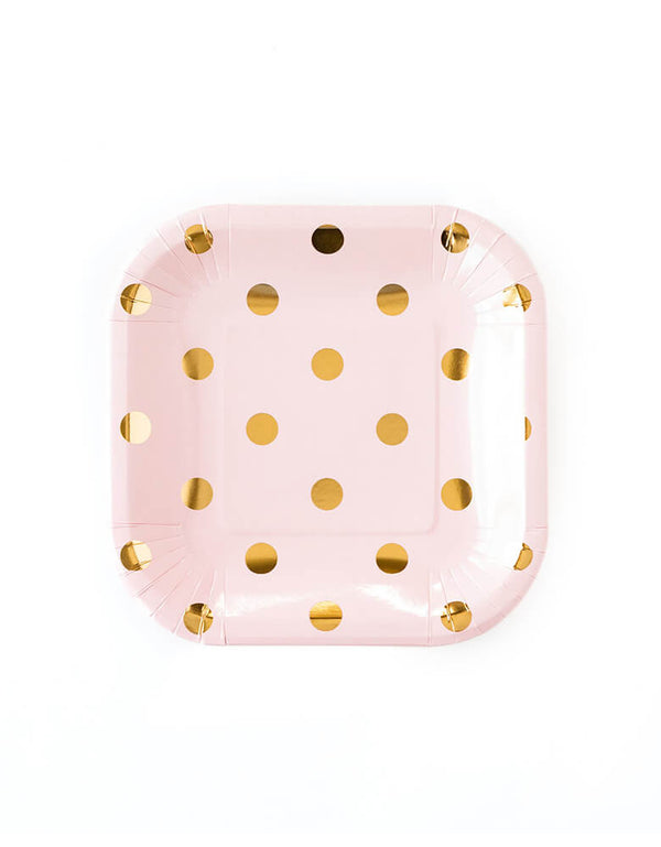 My Minds Eye Blush Polka Dot Plates, 7 inches, Pack of 12.  feature a pink square plate with old foil dots. They are ideal for piling delicious finger foods or appetizers. Great for pink-themed birthday parties and baby showers.
