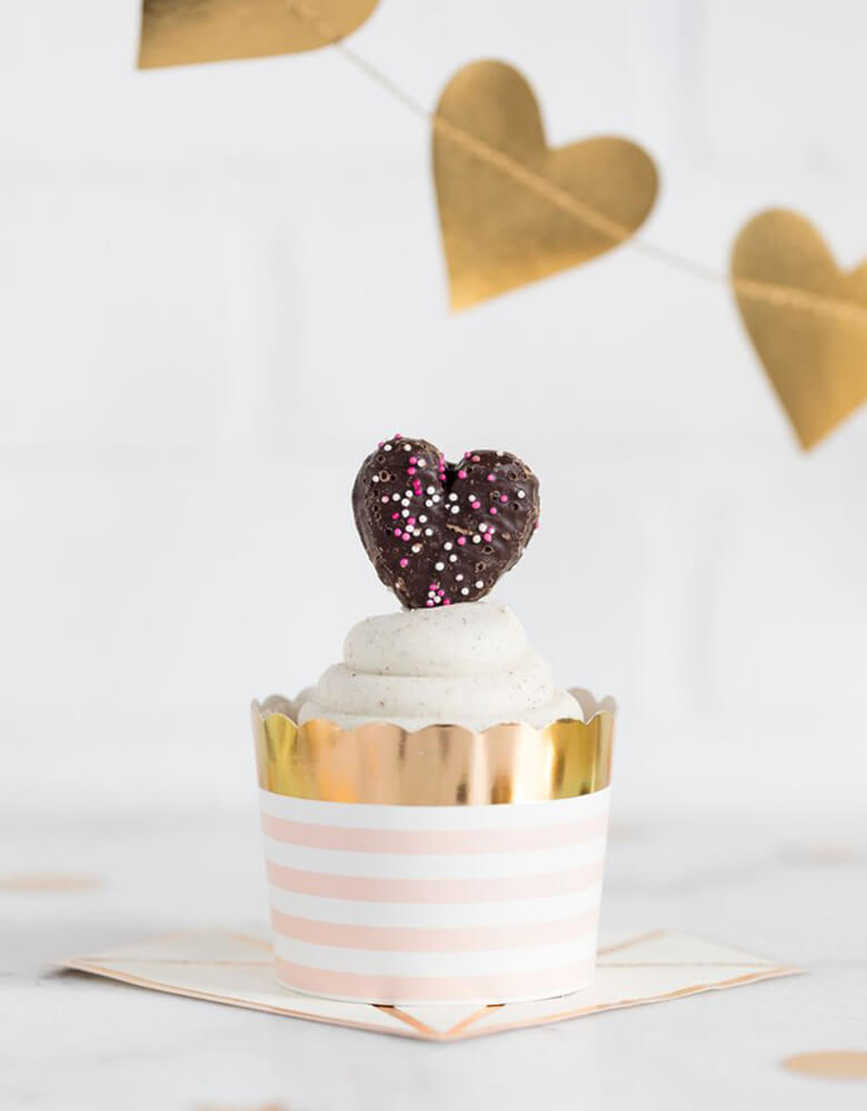 My Minds Eye Bride To Be 5 oz Blush Striped Food Cups filled with a cupcake and a heart shaped candy for a Valentines Day celebration