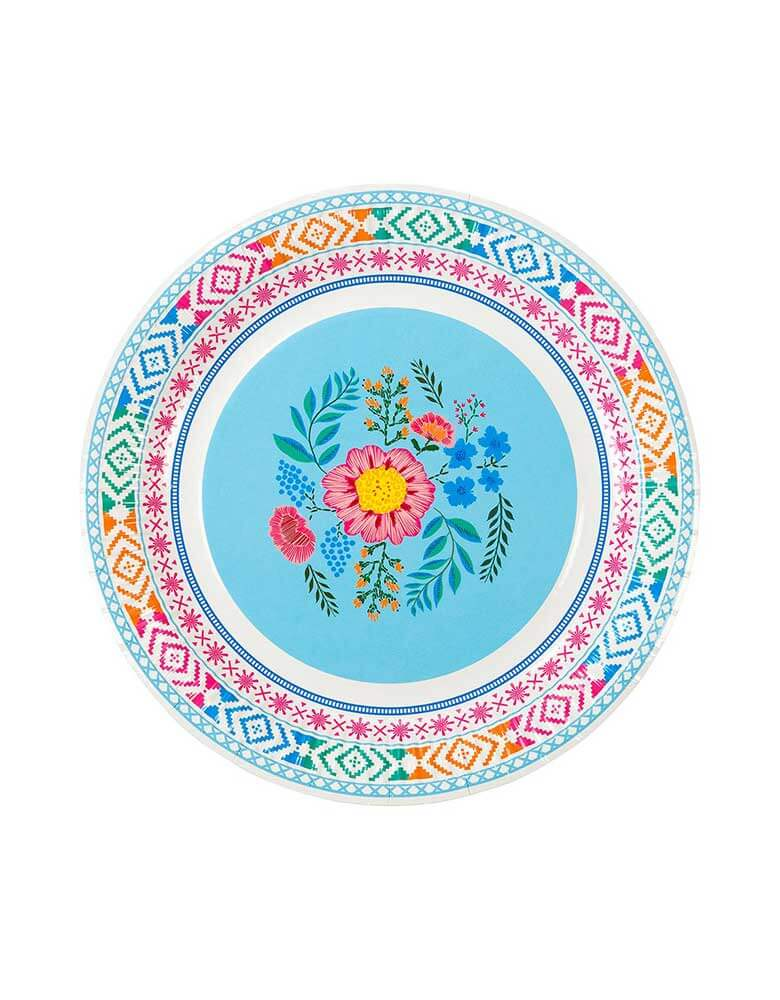"Talking Tables 9"" Boho Fiesta Floral Plate in Blue"