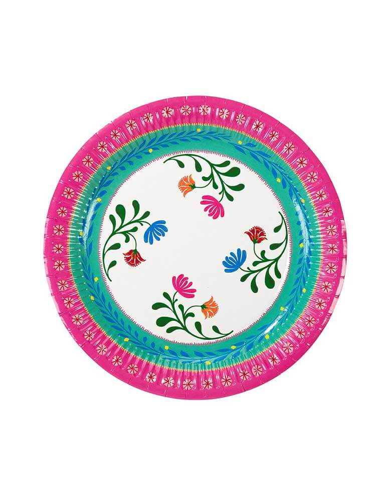 "Talking Tables 9"" Boho Fiesta Floral Plate in Magenta & Green"