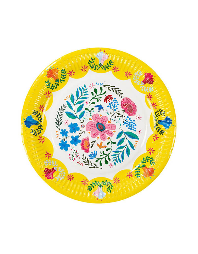 "Talking Tables 9"" Boho Fiesta Floral Plate in Yellow"
