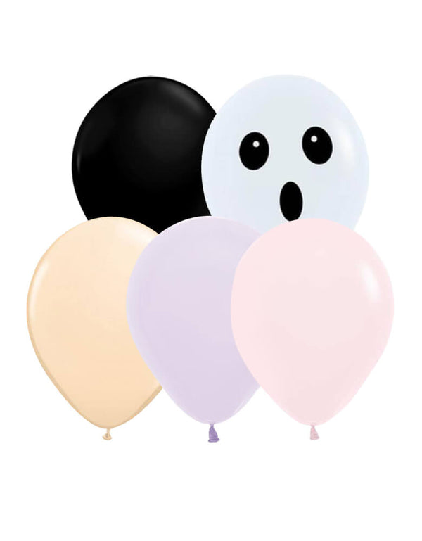 Momo party Halloween Boo To You Halloween Latex Balloon Mix. Set of 12, including matte pink, matte lilac, blush, black and ghost face balloons. Qualatex latex balloon,  made in USA