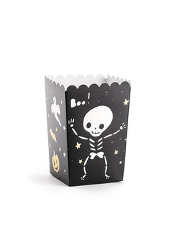 Party Deco Boo Treat Favor Box. Feathering a cute black box with cute skeleton, Boo! ghost and gold pumpkin and bat design. These treat boxes are simply boo-riffic! Great for party treats like candies, popcorns and more. Or use them as favor boxes with goodies to send your little ghost home!