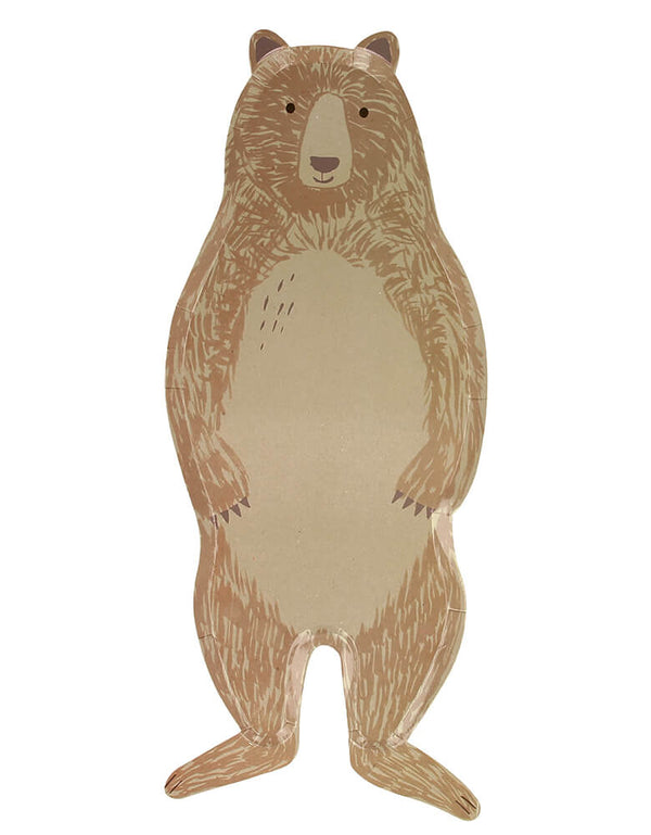 Meri Meri Brown Bear Large Plates. Featuring a whole body look Brown bear die cut shaped paper plate, They are crafted from uncoated art paper for a natural look. They are ideal for a woodland themed party or whenever you want to bring the beauty of nature to the party table.