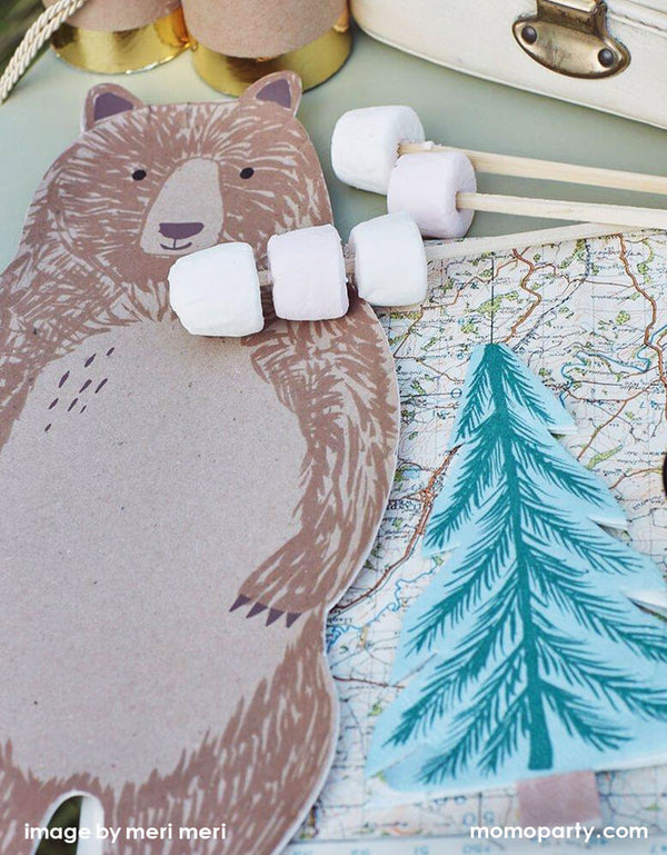 Meri Meri Brown Bear Large Plates with Tree napkins and Smore for a outdoor woodland camping themed party. Featuring a whole body look Brown bear die cut shaped paper plate, They are crafted from uncoated art paper for a natural look. They are ideal for a woodland themed party or whenever you want to bring the beauty of nature to the party table.