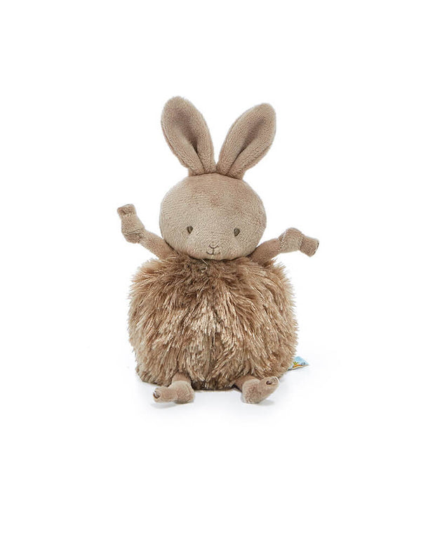 Bunnies by the By - Roly Poly Brownie Plush Toy, Featuring a soft round fur bodies with velour faces and dangly arms and legs. Embroidered faces and our signature blushed cheeks. This little bunny makes a perfect filler for your little one's Easter basket!
