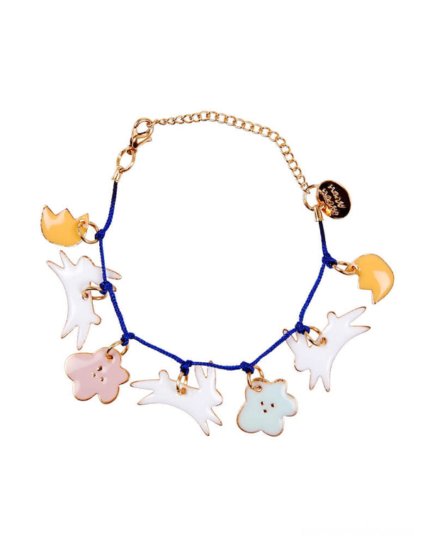 Meri Meri Bunny Enamel Bracelet. This charm bracelet, featuring 7 enamel charms with adorable enamel bunnies and flowers, is guaranteed to be received with delight. Embellished with gold foil details and has a bold blue cord and gold tone chain and fastener. so cute for your non-chocolate gift for Easter