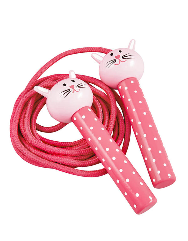 Floss & Rock - Bunny Jumping Rope, featuring a pink bunny head with pink and white polka dot handle. Jump away with this adorable bunny wooden handled jumping rope. It's perfect for backyard activity in spring time!