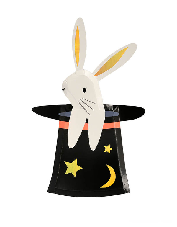 Meri Meri - Bunny in Hat Shaped Plates. Featuring cute bunny inside of the hat with star and moon  die cut shape design. Add a touch of magic to your party table with these fabulous bunny in a hat plates. They are perfect to serve food on, and they make excellent decorations too.