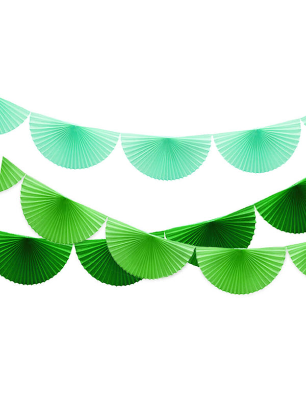 Devra 7 Feet Bunting Paper Fan Garland of Green, Mint, and Lime Green Set for Dinosaur Themed Birthday Party Decoration