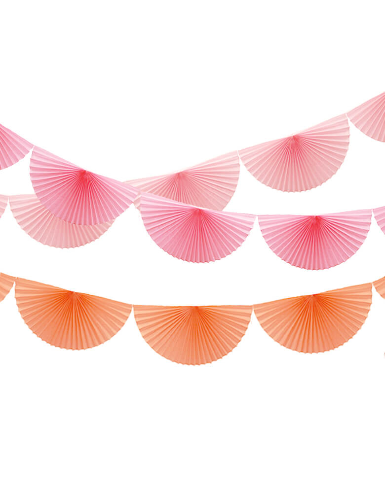 Devra 7 ft long Pink, Peach and Rose Bunting Fan Garland Set, Made in USA