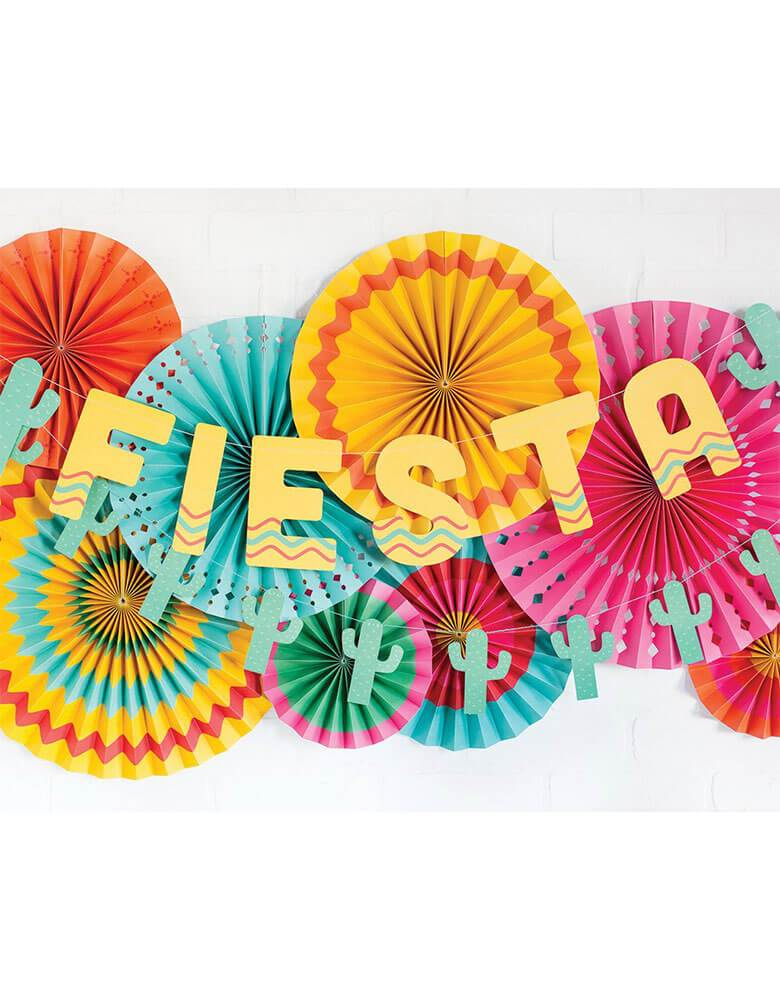 my minds eye Fiesta Party Fans with Fiesta banner, Cactus banner together for effortless backdrop decor, make a great for a Summer Fiesta Mexican themed festive Party