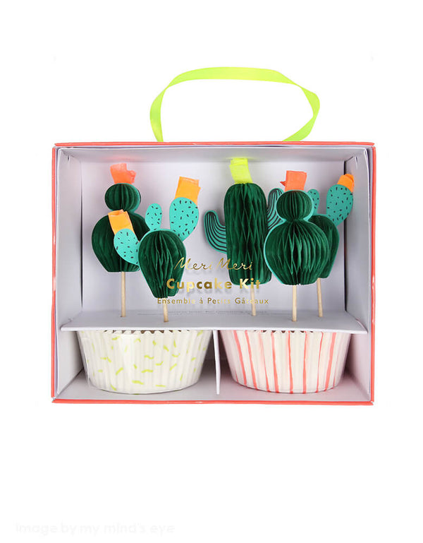 Meri meri Cactus Cupcake Kit. Cactus themed toppers with 24 coordinating cupcake cases Honeycomb & neon print detail