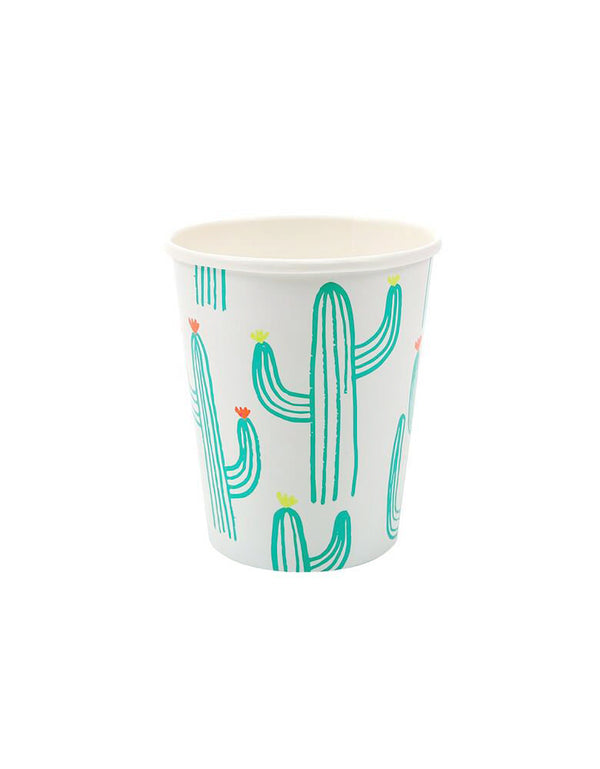 Meri Meri Cactus Cups, Eco-friendly paper cups, pack of 12, Printed with cactus illustrations