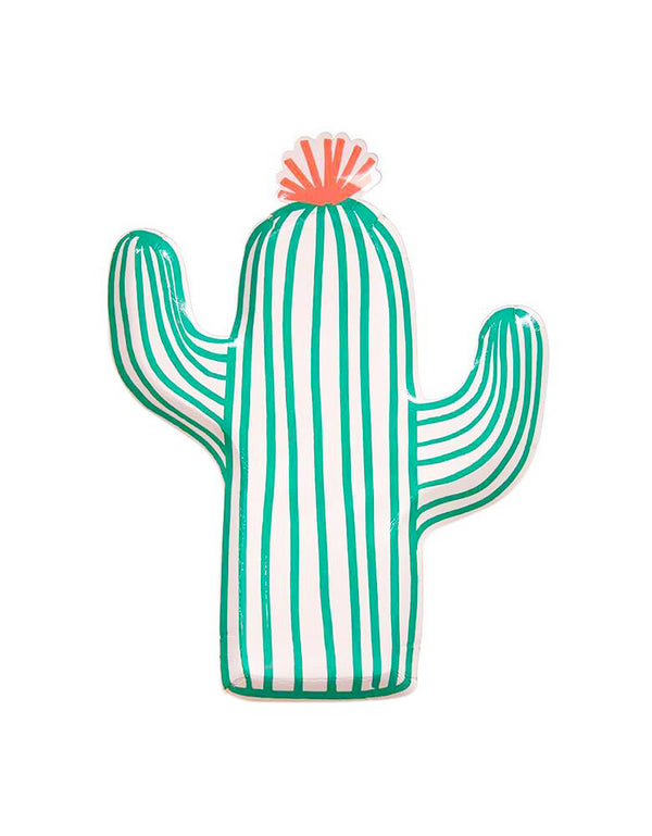 Meri Meri Cactus Shaped Paper Plate for Fiesta, Mexican themed party or Cinco de Mayo celebration.
