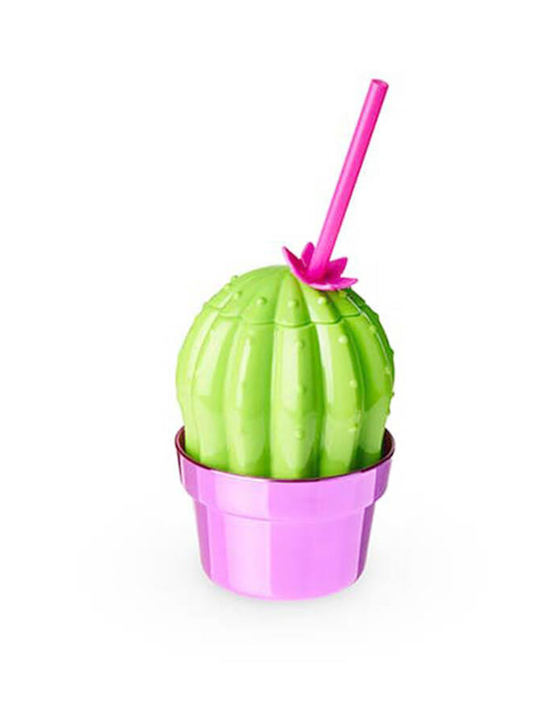 Blush 16 oz Cactus Drink Tumbler with Pink reusable straw