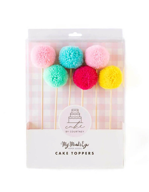 My Minds Eye Cake By Courtney Pom Pom Cake Toppers, Pack of 6 toppers in red, yellow, mint, blue, light pink, and dark pink