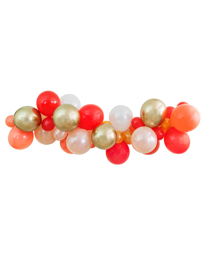 Candy Cane color inspiration themed Balloon Cloud decoration with Gold, Red, Pearl White, Coral, Pearl peach latex balloons for a glamour christmas celebration, birthday