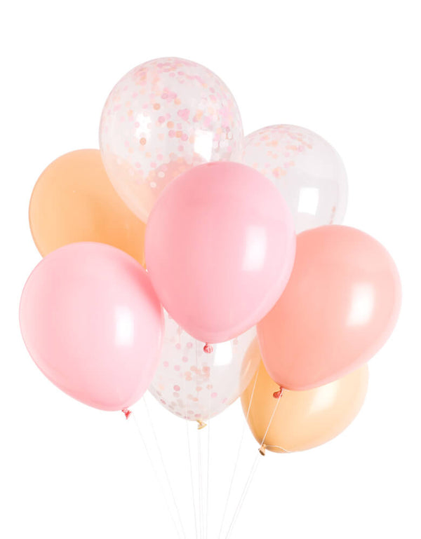 Studio Pep - Candy Classic Latex Balloon Mix. Featuring mix of pink, coral and blush and confetti balloons. Set of 12: 9 solid colored balloons + 3 pre-filled confetti balloons. They're perfect for birthday parties, baby showers and bridal showers, girls birthday party, princess birthday party