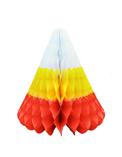 Devra Party Candy Corn Honeycomb Decoration in Hand-crafted and hand-dyed of the traditional white, yellow, and orange stripes, Made in the USA. This Giant candy corn honeycomb decoration, is made from high quality tissue paper and have a looped hanging string attached, is the perfect addition to your event decor, or photo backdrop. With the modern unique designed web shape, perfect decoration for a Halloween party, trick-or-treat Halloween party, Witch Party, Haunted House Birthday Party