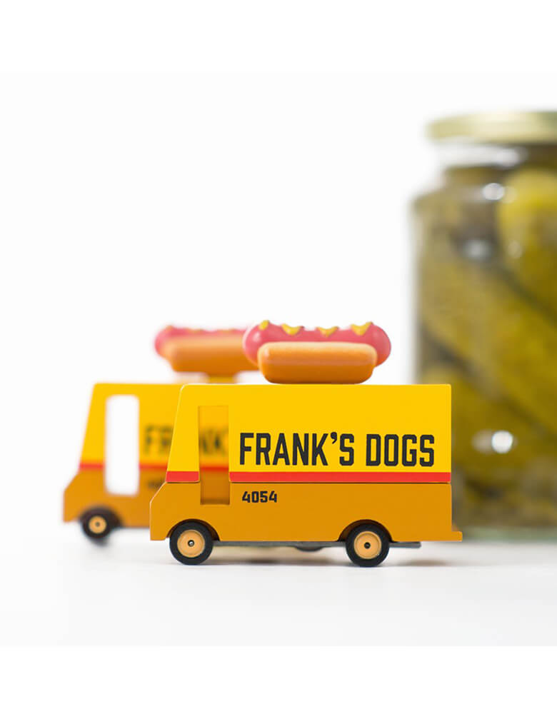 Candylab Wooden Car toys - Candyvans Hotdog Van with jar of pickles on the background